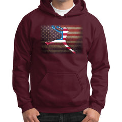 Softball - Vintage America - Gildan Hoodie Maroon Blue Moon Clouds