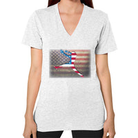Softball - Vintage America - V-Neck Ash grey Blue Moon Clouds