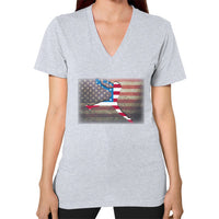 Softball - Vintage America - V-Neck Heather grey Blue Moon Clouds