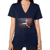 Softball - Vintage America - V-Neck Navy Blue Moon Clouds