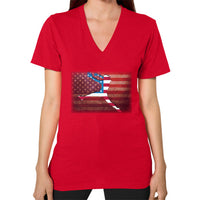Softball - Vintage America - V-Neck Red Blue Moon Clouds