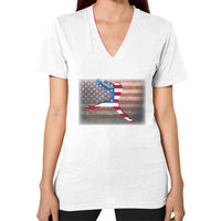 Softball - Vintage America - V-Neck White Blue Moon Clouds
