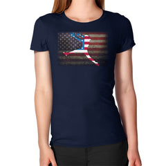 Softball - Vintage America - Women's T-Shirt Navy Blue Moon Clouds