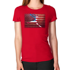 Softball - Vintage America - Women's T-Shirt Red Blue Moon Clouds