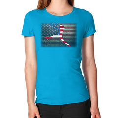 Softball - Vintage America - Women's T-Shirt Teal Blue Moon Clouds