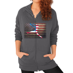 Softball - Vintage America - Zip Hoodie Asphalt Blue Moon Clouds