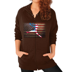 Softball - Vintage America - Zip Hoodie Brown Blue Moon Clouds