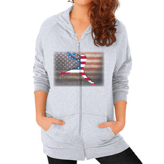 Softball - Vintage America - Zip Hoodie Heather grey Blue Moon Clouds