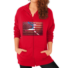 Softball - Vintage America - Zip Hoodie Red Blue Moon Clouds