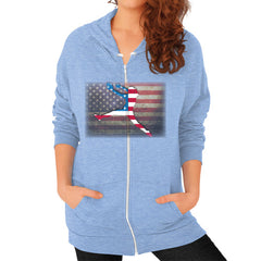 Softball - Vintage America - Zip Hoodie Tri-Blend Blue Blue Moon Clouds