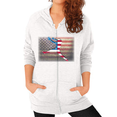 Softball - Vintage America - Zip Hoodie Tri-Blend Oatmeal Blue Moon Clouds