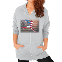 Softball - Vintage America - Zip Hoodie Tri-Blend Silver Blue Moon Clouds