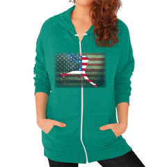 Softball - Vintage America - Zip Hoodie Tri-Blend Vintage Green Blue Moon Clouds