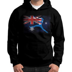 Softball - Vintage Australia - Gildan Hoodie Black Blue Moon Clouds