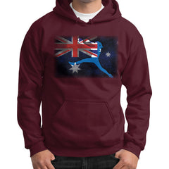 Softball - Vintage Australia - Gildan Hoodie Maroon Blue Moon Clouds