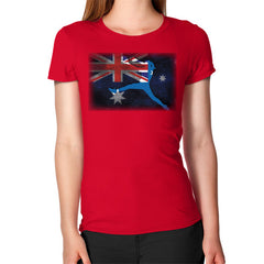 Softball - Vintage Australia - Women's T-Shirt Red Blue Moon Clouds