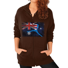 Softball - Vintage Australia - Zip Hoodie Brown Blue Moon Clouds