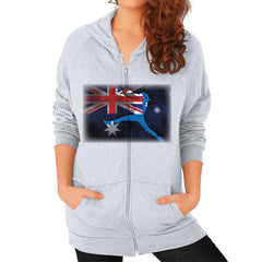 Softball - Vintage Australia - Zip Hoodie Heather grey Blue Moon Clouds