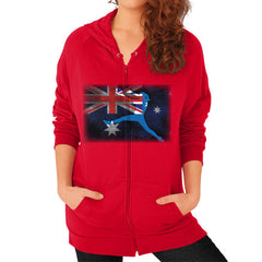 Softball - Vintage Australia - Zip Hoodie Red Blue Moon Clouds