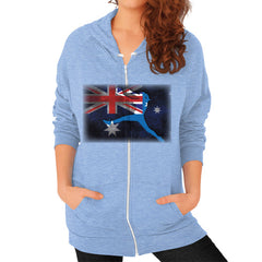 Softball - Vintage Australia - Zip Hoodie Tri-Blend Blue Blue Moon Clouds
