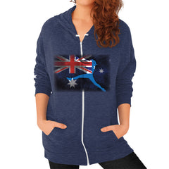 Softball - Vintage Australia - Zip Hoodie Tri-Blend Navy Blue Moon Clouds