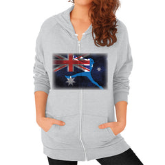 Softball - Vintage Australia - Zip Hoodie Tri-Blend Silver Blue Moon Clouds