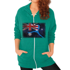 Softball - Vintage Australia - Zip Hoodie Tri-Blend Vintage Green Blue Moon Clouds