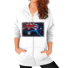 Softball - Vintage Australia - Zip Hoodie White Blue Moon Clouds