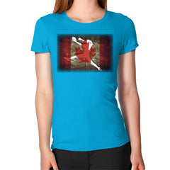 Softball - Vintage Canada - Women's T-Shirt Teal Blue Moon Clouds