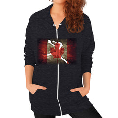 Softball - Vintage Canada - Zip Hoodie Tri-Blend Black Blue Moon Clouds