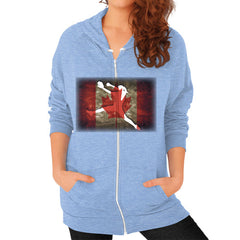 Softball - Vintage Canada - Zip Hoodie Tri-Blend Blue Blue Moon Clouds