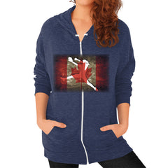 Softball - Vintage Canada - Zip Hoodie Tri-Blend Navy Blue Moon Clouds