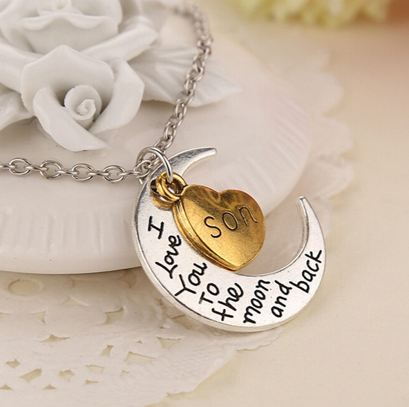 "Son Moon Necklace "" I Love You To The Moon And Back """