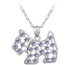 Westie Dog Crystal Necklace West Highland White Terrier