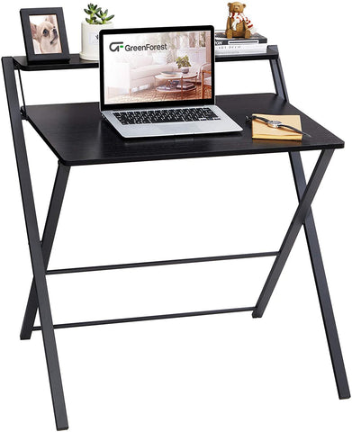 Kawachi Scissors Type Folding With Adjustable Shelf Space Saving Laptop, Study Table, Computer Desk Beige