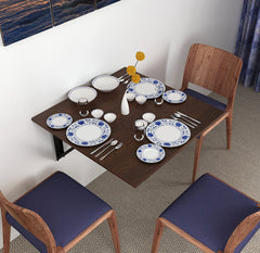 Kawachi Fold Down 3 Seater Wall Mounted Folding Breakfast Dining Table Perfect Addition to Kitchen & Dining Room Brown
