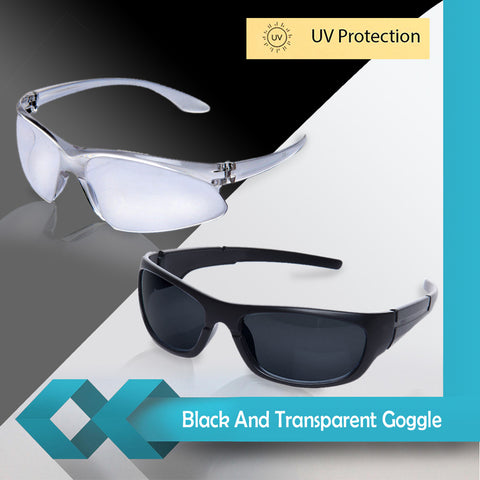 Kawachi Pack of 2 Outdoor Sports Night Vision Driving Black and  White Transparent Goggle C229