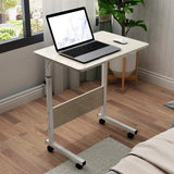 Kawachi Portable Height Adjustable Bedside Patient Tray Overbed Laptop Study Table Maple