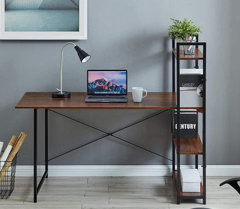 Kawachi Computer Desk Writing Study Table with 4 Tier Bookshelves Compact PC Workstation