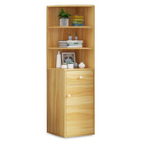 Kawachi Wooden Multipurpose Corner Wall Decor Cabinet Bookshelf Rack With Drawer Storage K559-Beige