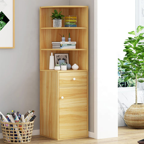 Kawachi Wooden Multipurpose Corner Wall Decor Cabinet Bookshelf Rack With Drawer Storage K559-White