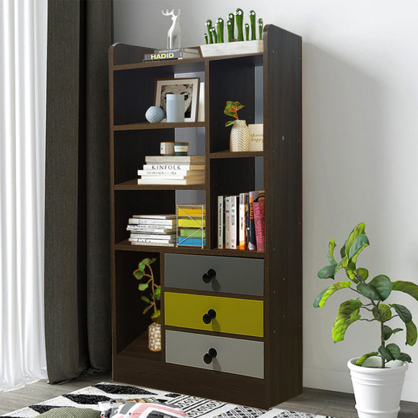 Kawachi Wooden Bookshelf Almirah Organiser with Open Storage and Drawers for Home Office KW14
