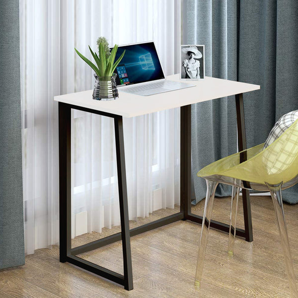 Kawachi Small Folding Writing Study, Laptop, Computer Desk Foldable Home and Office Table Workstation for Small Space Offices White