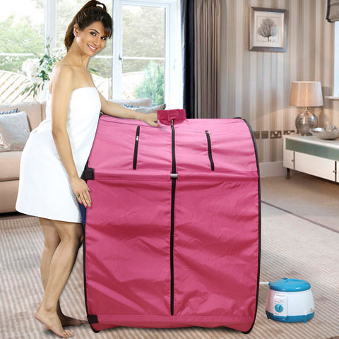 Kawachi Foldable Steam Sauna Bath with Single Layer Heat Resistant Cabin for Beauty Spa I03-Pink