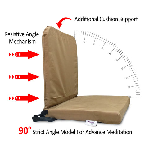 KAWACHI RIGHT ANGLE BACK SUPPORT PORTABLE RELAXING FOLDING YOGA MEDITATION CHAIR - I83-Brown