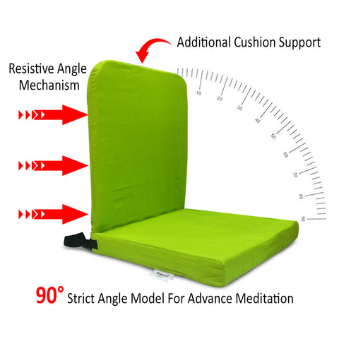 KAWACHI RIGHT ANGLE BACK SUPPORT PORTABLE RELAXING FOLDING YOGA MEDITATION FLOOR CHAIR I83-GREEN