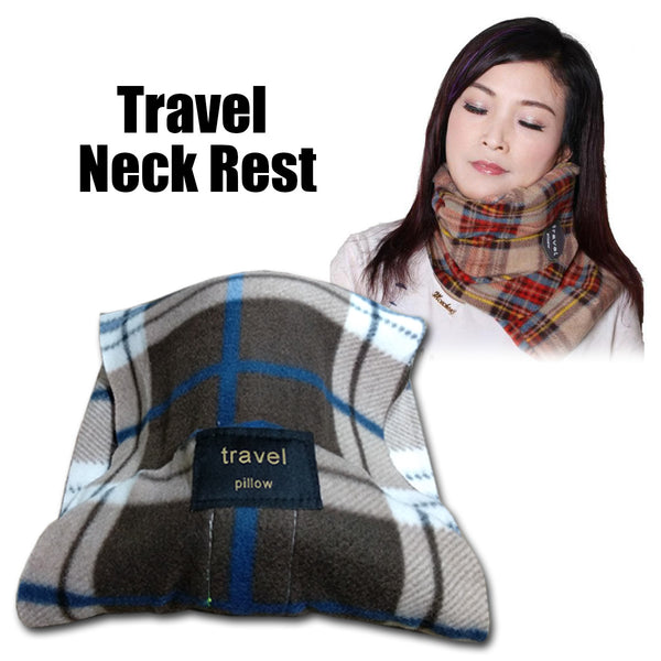 Kawachi shoulder support wrap around scarf travel neck pillow for air travel,ideal for long sitting travels K488-Check