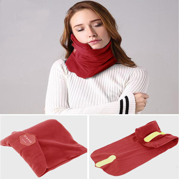 Kawachi shoulder support wrap around scarf travel neck pillow for air travel,ideal for long sitting travels K488-Red
