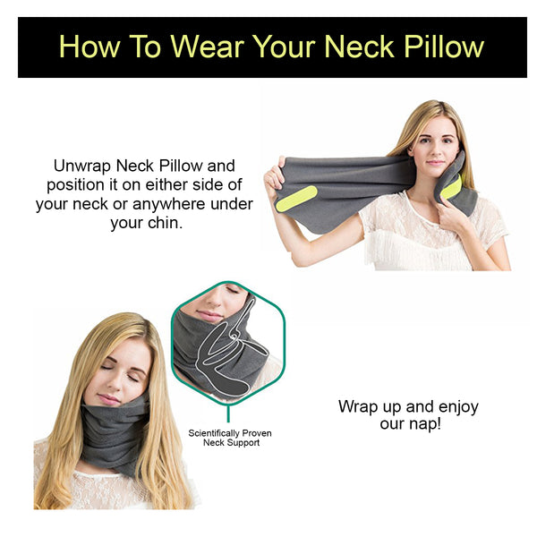 Kawachi shoulder support wrap around scarf travel neck pillow for air travel,ideal for long sitting travels K488-Grey