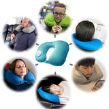 Kawachi easy to blow inflatable travel neck pillow (mouth blowing not needed) for picnic,air travel K496-Blue